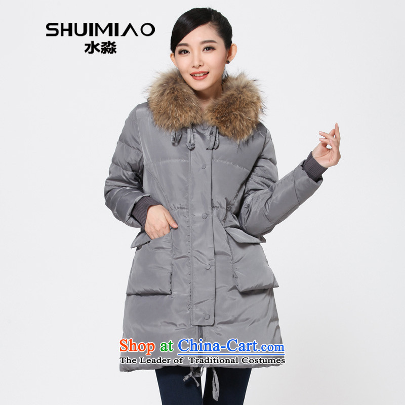 The representative of the water for larger women 2014 winter thick large nuclear-collar down in gross long women S14DO4193 GrayL