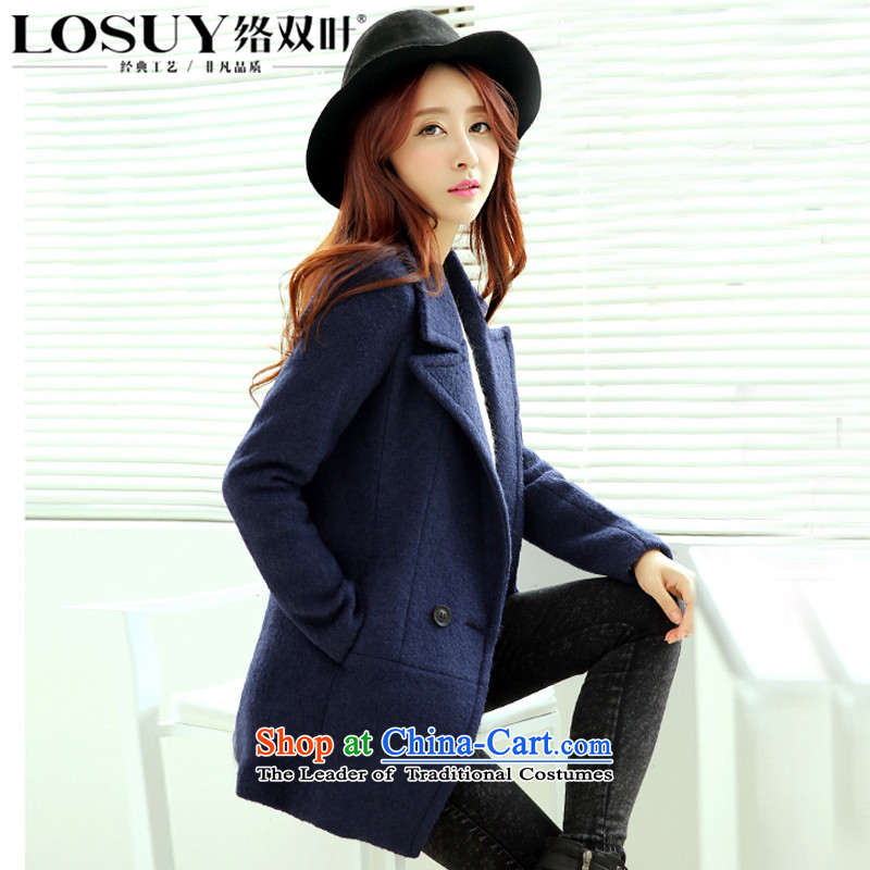 Contact Us dual leaf 2015 autumn and winter new Korean fashion sense of wild a grain of detained women's video thin lapel of Sau San Mao jacket navy blue燤?