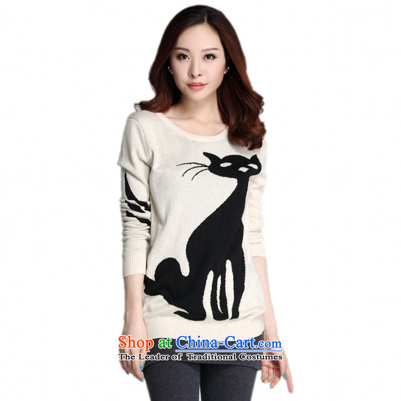 C.o.d. plus obesity large mm female Sweater Knit-fox Mercerized Jersey Cover-Up comfortable stylish pattern shirt ladies wear the OL T-shirt apricot color graphics thin 3XL about 155-170 catty