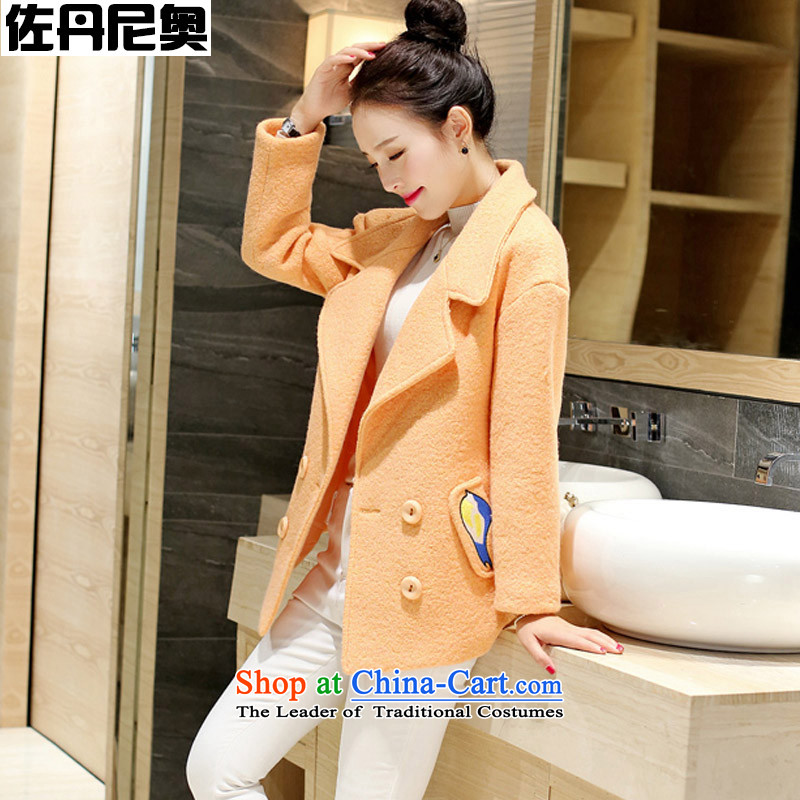 Gross? female Korean jacket autumn 2015 new thick hair for large Sau San a wool coat girl in long toner orange?M code