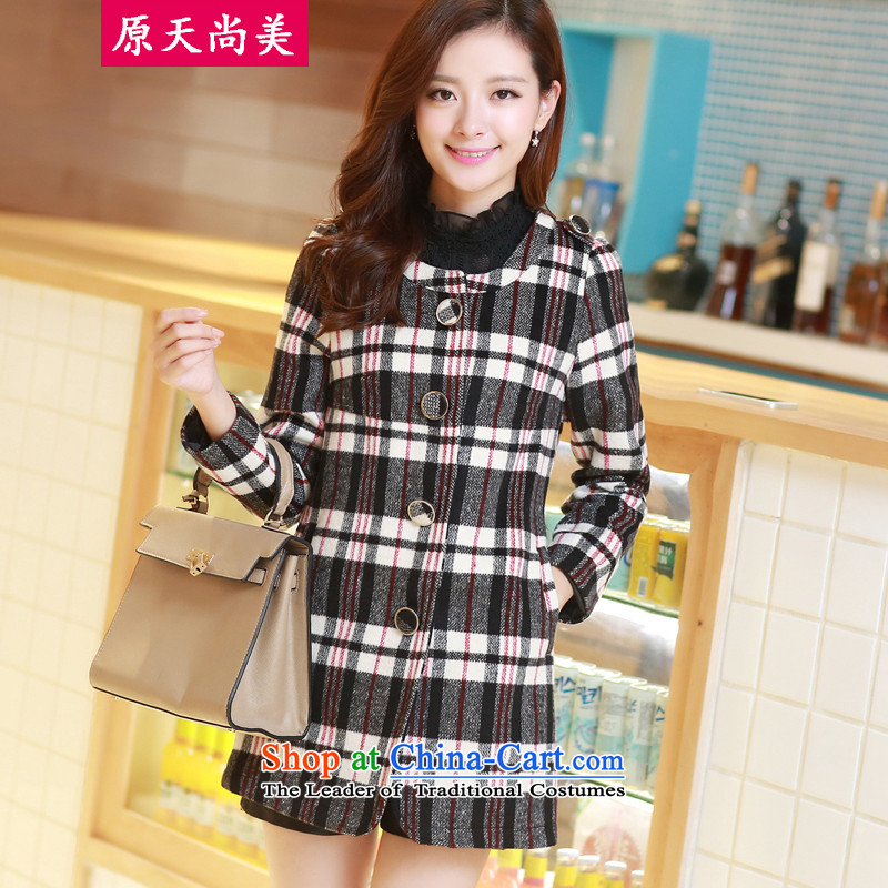 The days of the2014 Winter Han Sang-mi version with a straight style round-neck collar tartan jacket femaleCD821A0LT02 gross?Red GridXL