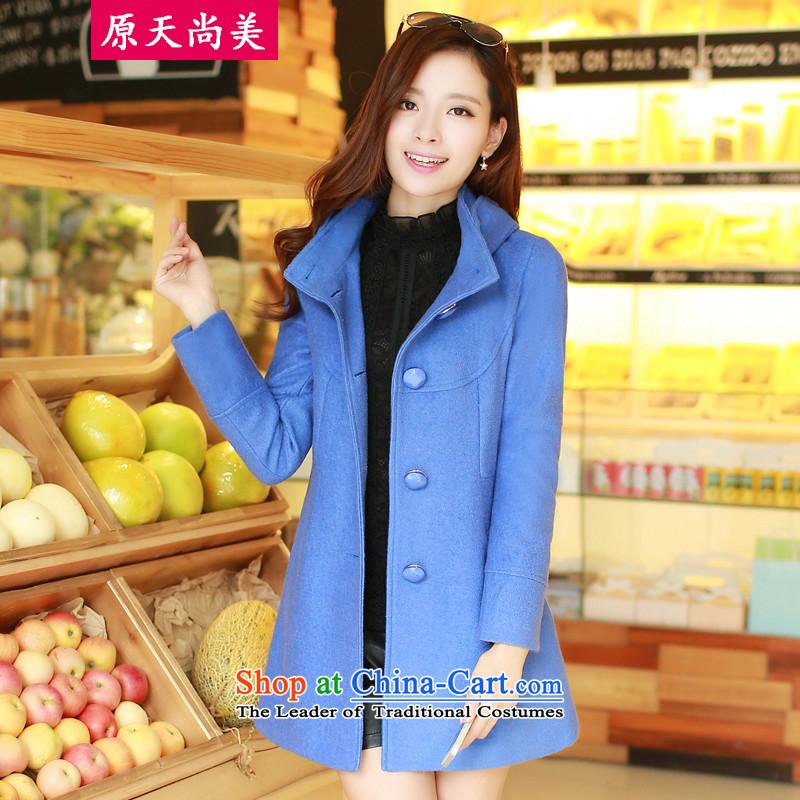 The original days Sang-mi2014 winter stylish Korean leave cap pure colors Sau San in long coats of femaleCD81A0LT07?blueXL