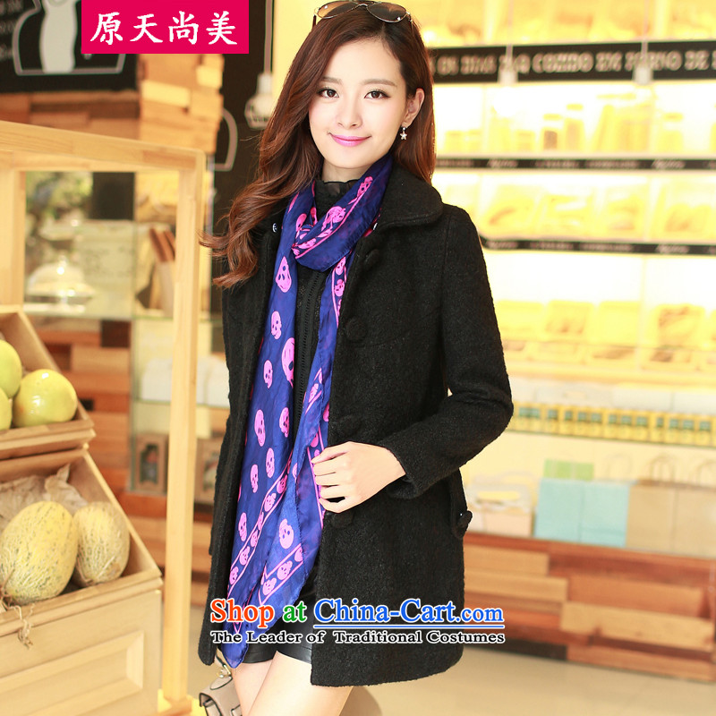 The original days Sang-mi2014 Winter Korean fashion in loose long single row detained pure color a wool coat CD81A0LT08 female blackXXL