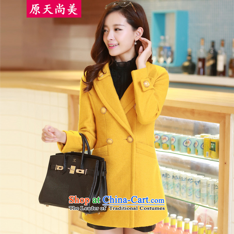 The original days Sang-mi2014 Winter Korean fashion in the Sau San long double-a jacketCD81A0LT09 femalelight yellowXXL