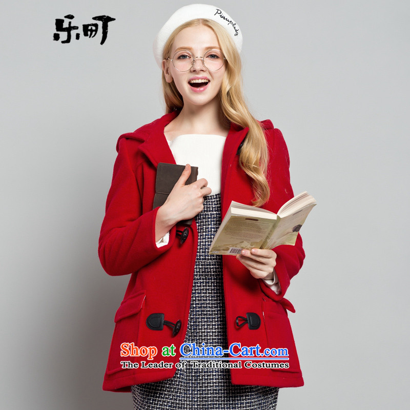 Lok-machi 2015 winter clothing new date of women detained coats CWAA44527 horns RED M