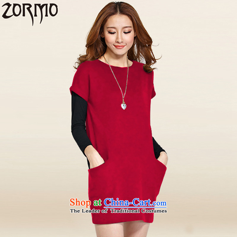 Large ZORMO female autumn and winter to xl dresses kit fat mm long-sleeved T-shirt + short skirts 2 piece dark red XXXL 145-165 catty