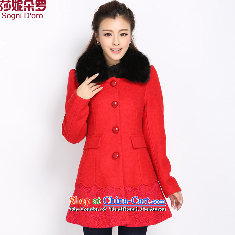 Luo Shani Flower Code women's gross? mm thick winter jackets to increase video thin thick a wool coat female thick sister 5032 stunning red 5XL thin coat of graphics