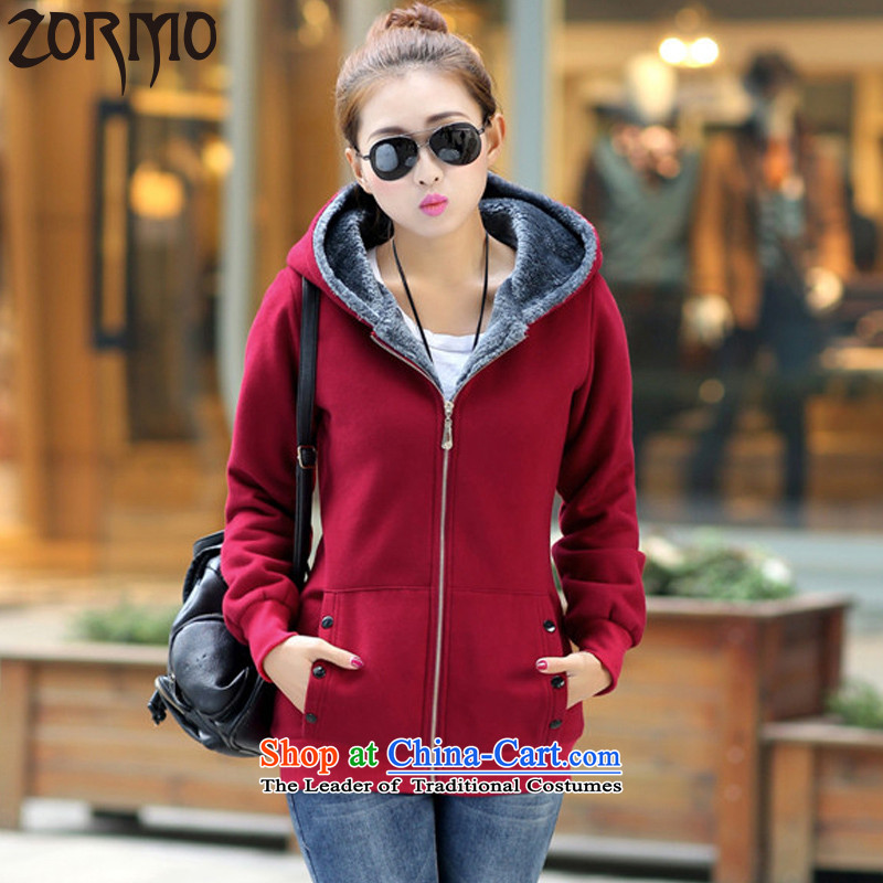 The new winter 2015 ZORMO thick mm to XL Emulation plush coat autumn and winter king lounge wine red sweater thick5XL catty around 170-190 microseconds