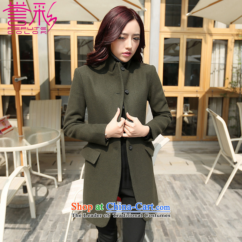 Also known women 2015 new Korean autumn and winter temperament a wool coat girl in long OL Sau San collar wool coat T509? Army Green M