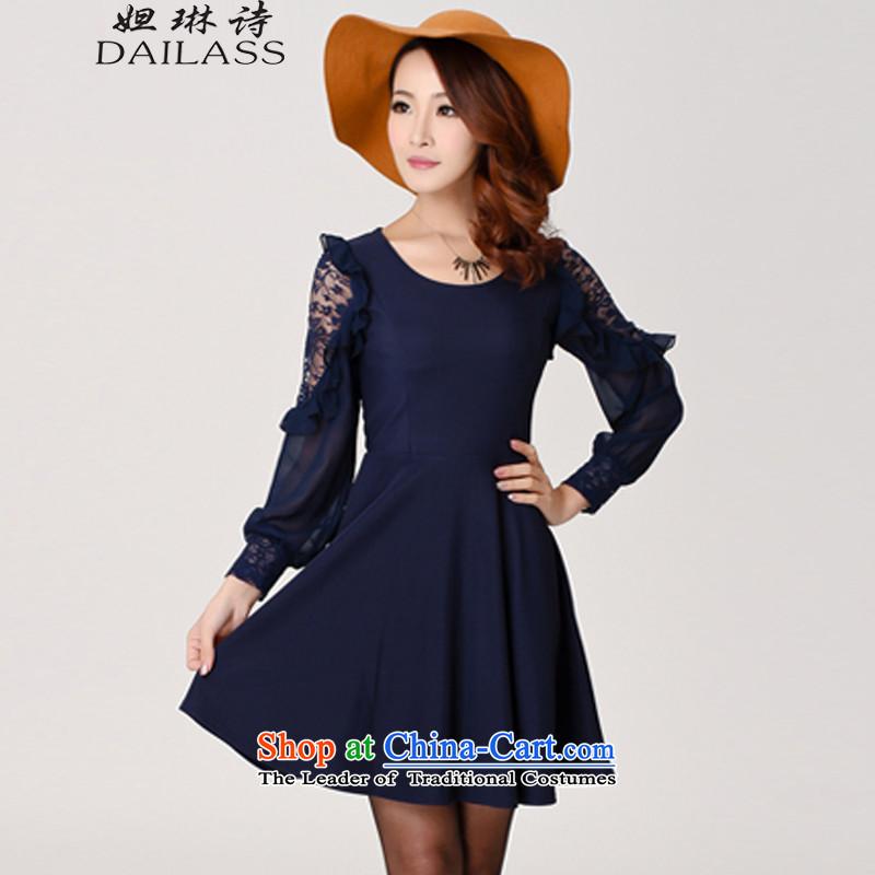Hoda Badran _DAILASS poem Lin_ Spring 2015 new larger female Korean Sau San chiffon dresses femaleQY825DEEP BLUEXXXL_ rushed belt_