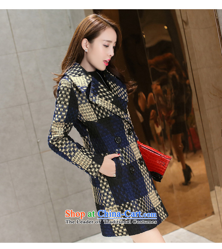 Also known in the autumn and winter 2015 gross jacket is long female Korean Sau San grid coarse woolen coat T838 tweed navy M picture, prices, brand platters! The elections are supplied in the national character of distribution, so action, buy now enjoy more preferential! As soon as possible.