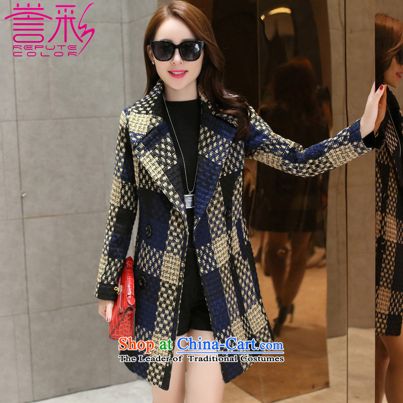 Also known聽in the autumn and winter 2015 gross jacket is long female Korean Sau San grid coarse woolen coat聽T838 tweed聽navy聽M