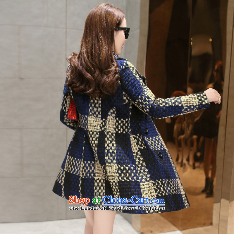 Also known in the autumn and winter 2015 gross jacket is long female Korean Sau San grid coarse woolen coat T838 tweed navy M, known repute color (color) , , , shopping on the Internet