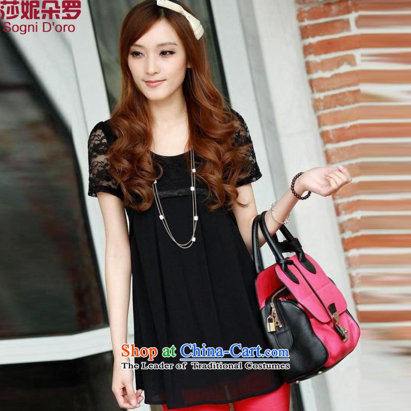 Shani flower, large XL Graphics thin T-shirts thick mm summer loose chiffon shirt short-sleeved shirt women 4629 Black�L