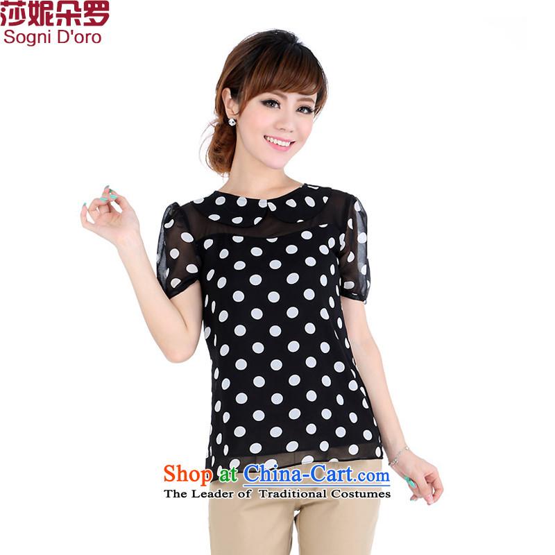 Summer stock sale kumabito apparel graphics thin thick mm Summer 2014 large female chiffon shirt short-sleeved T-shirt6XL 4671 Black