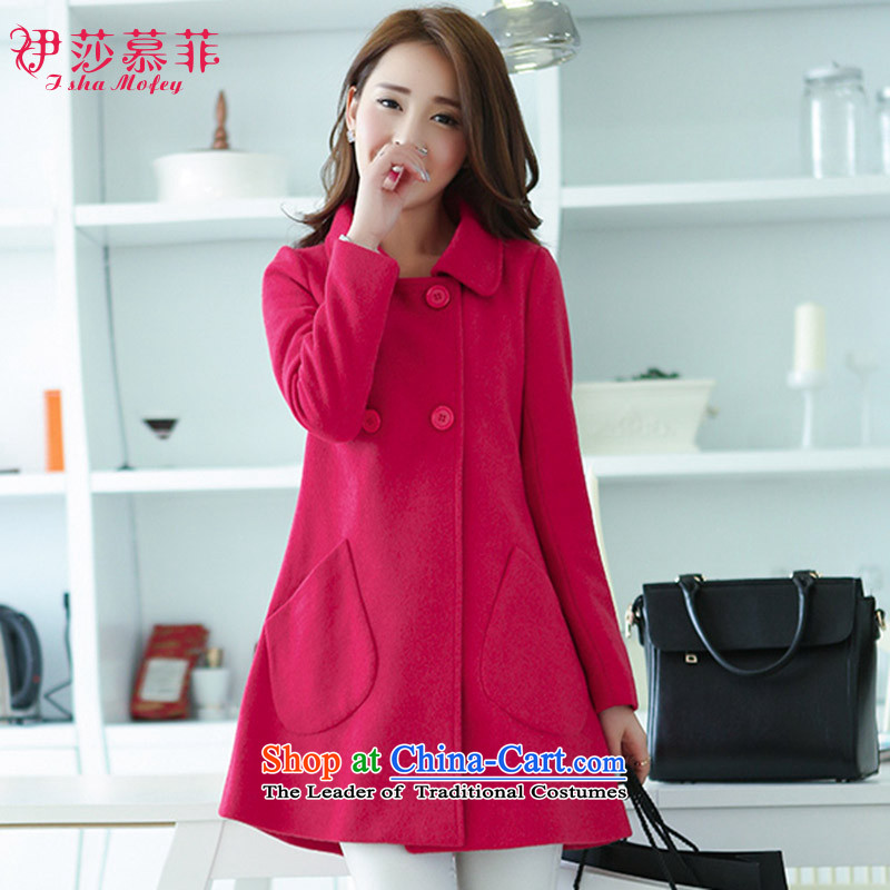 Isabel Florence duplex gross? version won thin, long-Sau San lapel a wool coat wind jacket in RED?M