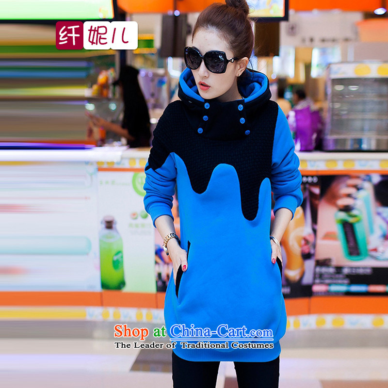 In the former Yugoslavia and the 2014 autumn and winter Connie new larger female relaxd the lint-free kit head thick sweater q5014 Blue M