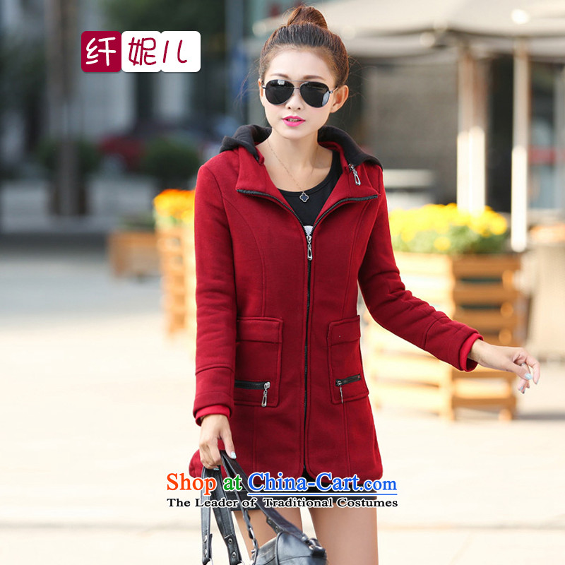 In the former Yugoslavia and the 2014 autumn and winter Connie new Korean female stitching thick MM to xl with cap. Chang Wei jacket q5016 bourdeauxXL