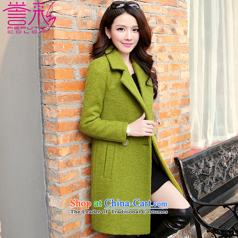 Also known for燼utumn and winter 2015 Korean temperament, Sau San a wool coat in long thick hair? female T819 jacket fruit green燤