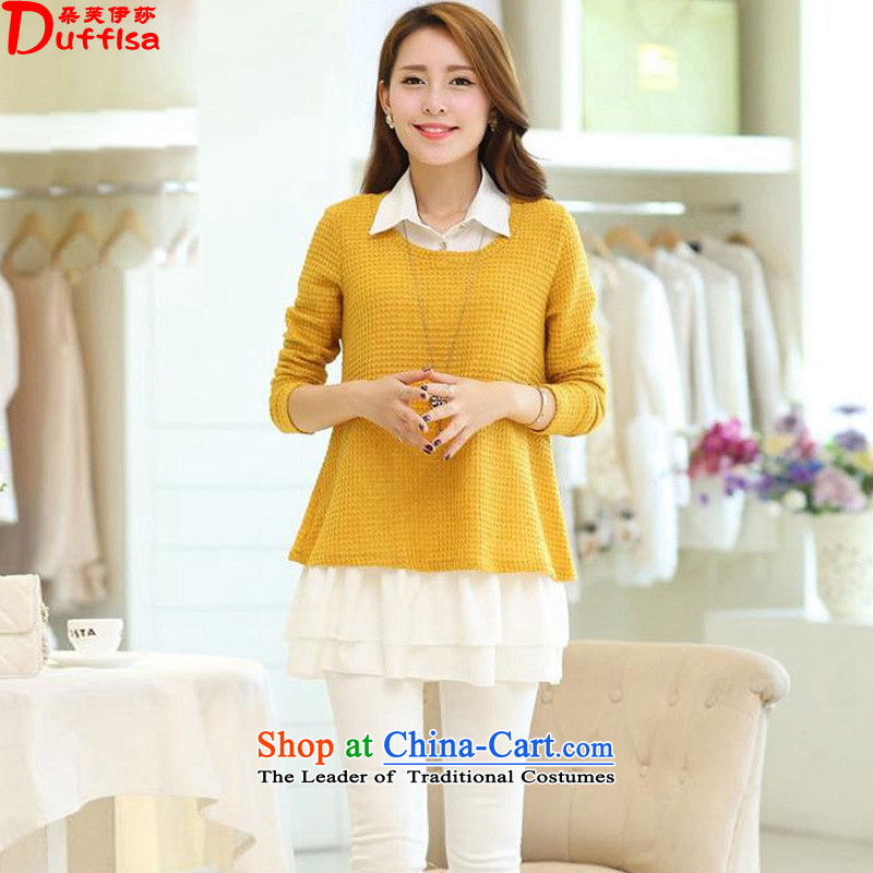 Flower to Isabellespring 2015 the new Korean large stylish chiffon two kits, forming the knitting dress female D7375 YELLOWXXL