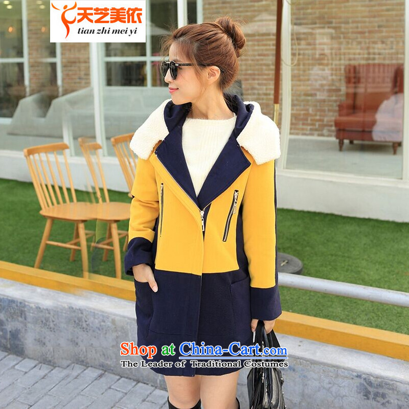 According to the 2014 days Ji-mi autumn and winter new Korean Lamb Maoulen Mak knocked color stitching a jacket female 0606 Yellow S