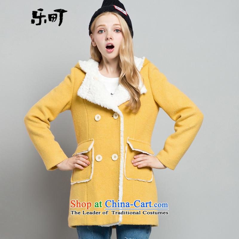 Lok-machi 2015 winter clothing new date of Female Cap Line button long coat CWAA44234 YELLOWS