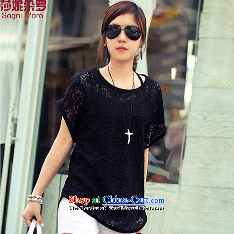 Luo Shani flower code t-shirts female loose to increase video thin, two kits thick sister summer blouses video thin black聽3XL_ wild two kits_
