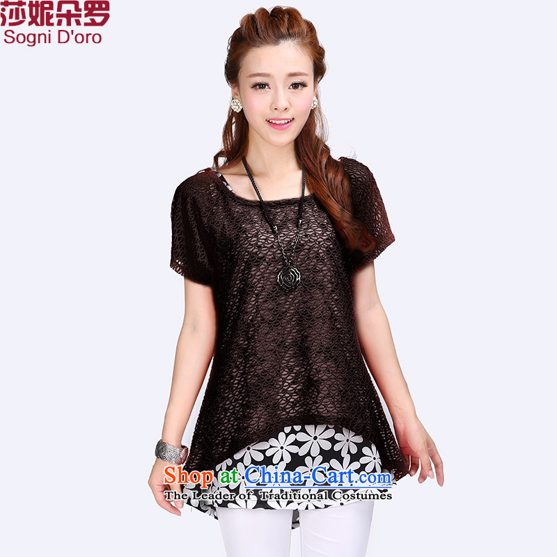 Luo Shani flower code T-shirts female loose short-sleeved to intensify the thick, Hin thin, thick sister summer blouses 6781 Black 4XL
