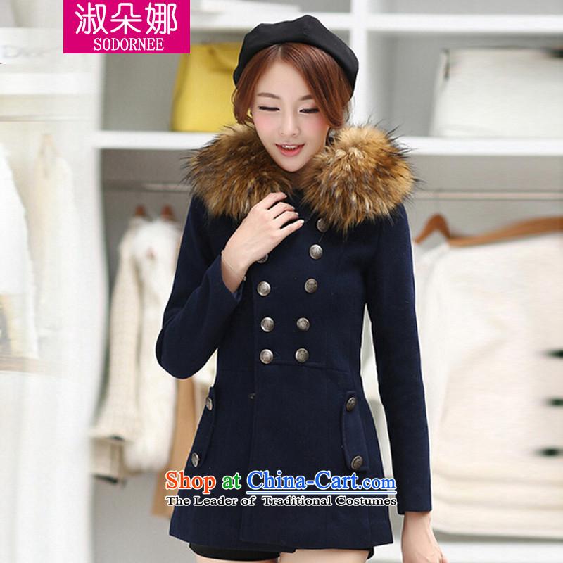 Mrs flower of 2014 winter clothing new Korean women in long hair for Sau San video thin wild wool coat 8270 deep blue?L