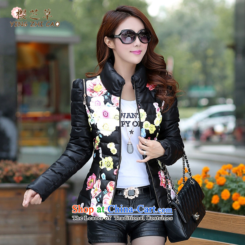 Winter clothing new 2015 cotton ginning with PU leather garments leather short-jacket, female jacket for larger women to intensify the thick black聽5XL warm