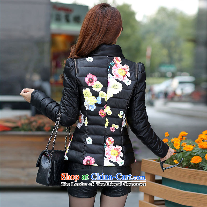 Winter clothing new 2015 cotton ginning with PU leather garments leather short-jacket, female jacket for larger women to intensify the thick black聽5XL, warm cherry yingzhicao grass (CHI) , , , shopping on the Internet