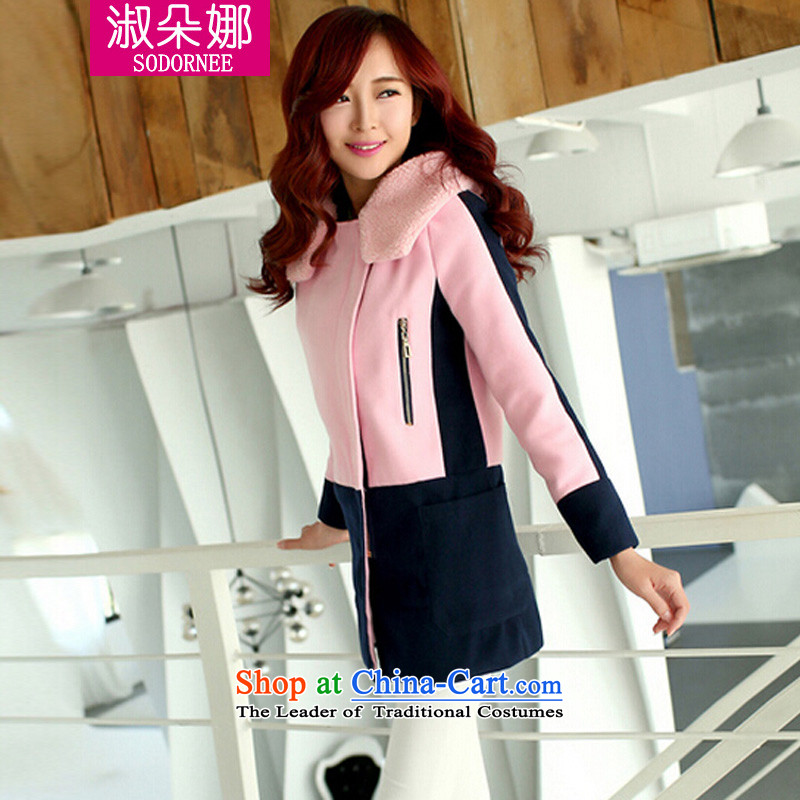Mrs flower of 2014 winter clothing new Korean girl who decorated in thick thin graphics long warm jacket coat wool?? 9050 pinkM