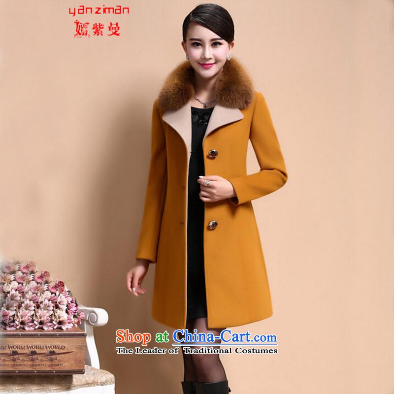 First Cayman cashmere cloak-Women 2015 genuine larger gross for winter coats European site? In gross jacket long maize yellow聽XL