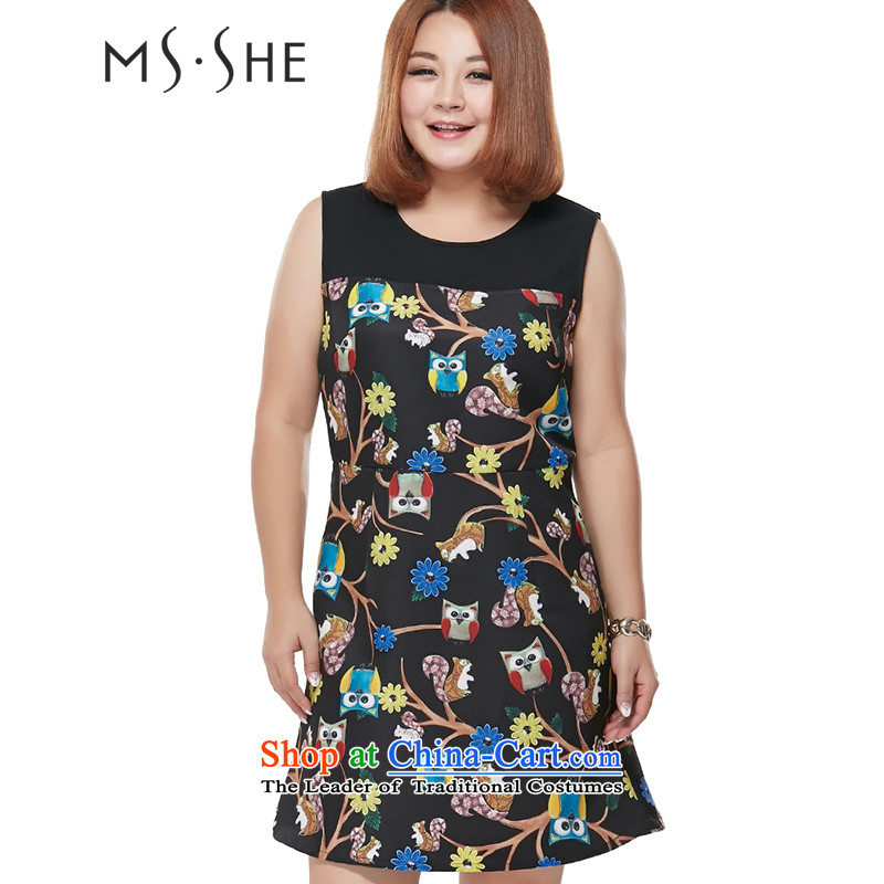 Msshe xl women 2015 Autumn new round-neck collar stamp Sau San video thin temperament vest skirt black 3XL 2,387 carats