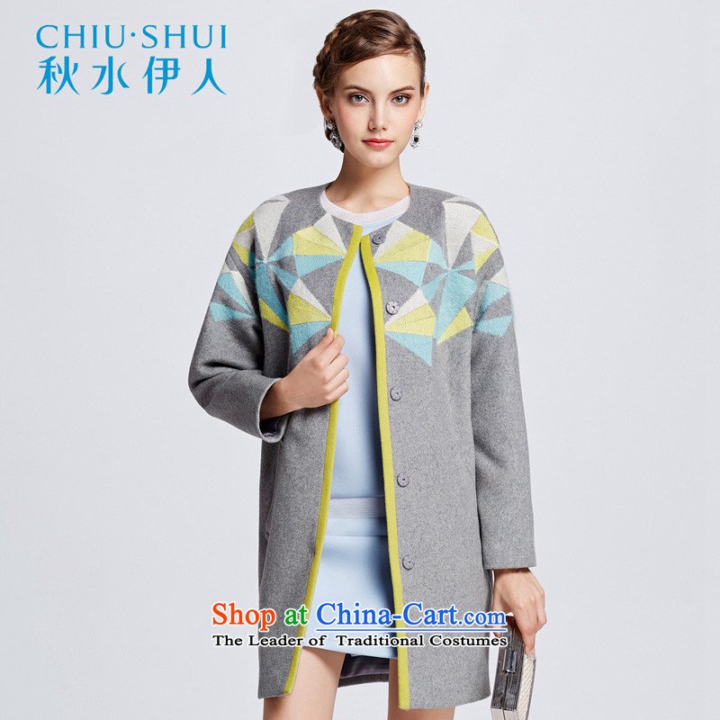 Chaplain who ladies casual temperament stamp color-coats cocoon knocked644112168A165_L Medium Gray