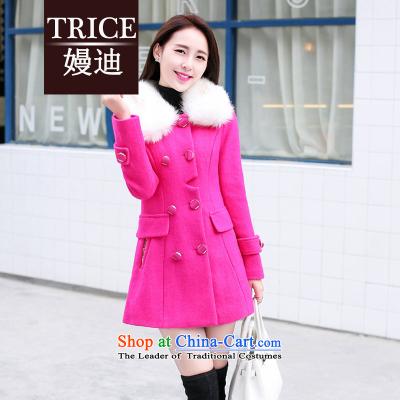 The autumn and winter trice2015 new stylish white hair for Sau San Mao jacket girl in long?) Korean female HYYF889 gross? The red cloak L