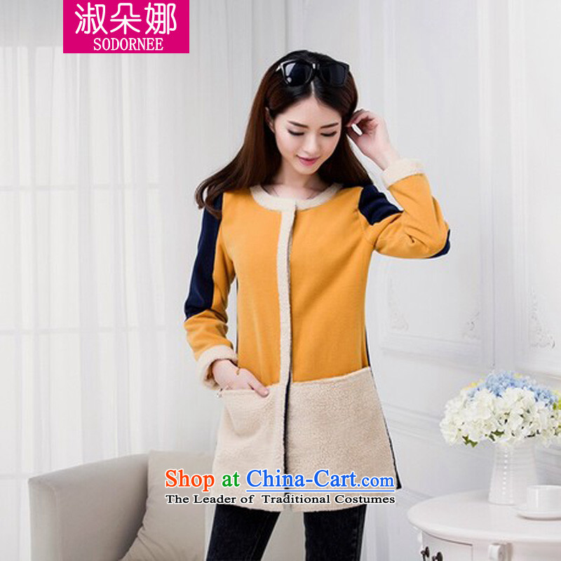 Mrs flower of 2014 winter clothing new Korean version in the stitching long neck hair? The Wind Jacket small Heung-coats 2007 picture color燬