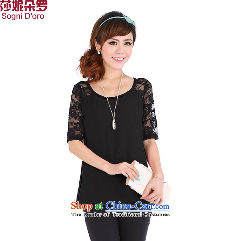 Summer stock sale plus hypertrophy Code women's summer thick mm2014 new chiffon short-sleeved shirt female t-shirt 4,673 applicants black2XL
