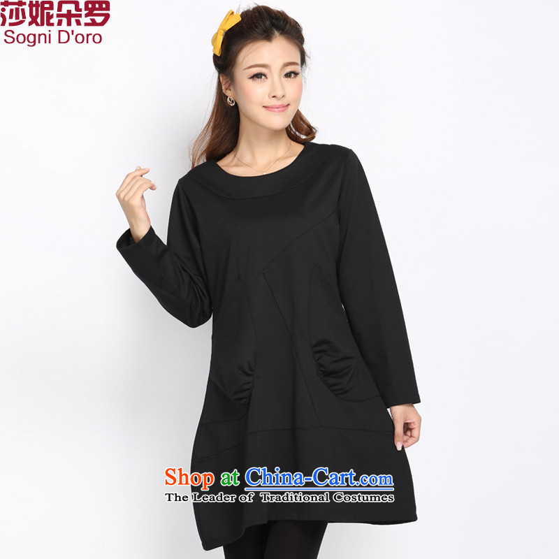Shani flower, XL female decorated long-sleeved round-neck collar dresses 2014 autumn and winter new Korean Solid Color minimalist dresses 5012 Black聽4XL