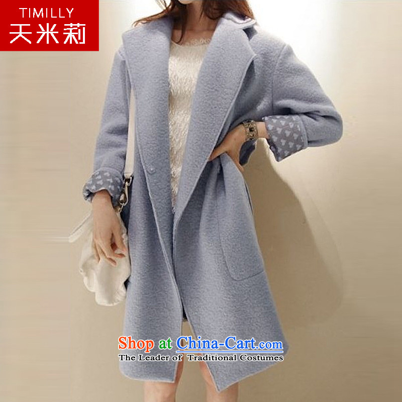 Day Milly new gross? overcoat female thick warm winter clothing large graphics thin Sau San Han Bum-quality culture small elegant genuine cashmere overcoat light blue?L