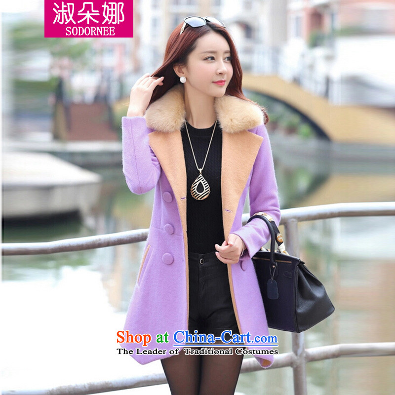 Mrs flower of 2014 winter clothing new double-style, long, thin hair? Graphics Sau San coats 903 light purple燣