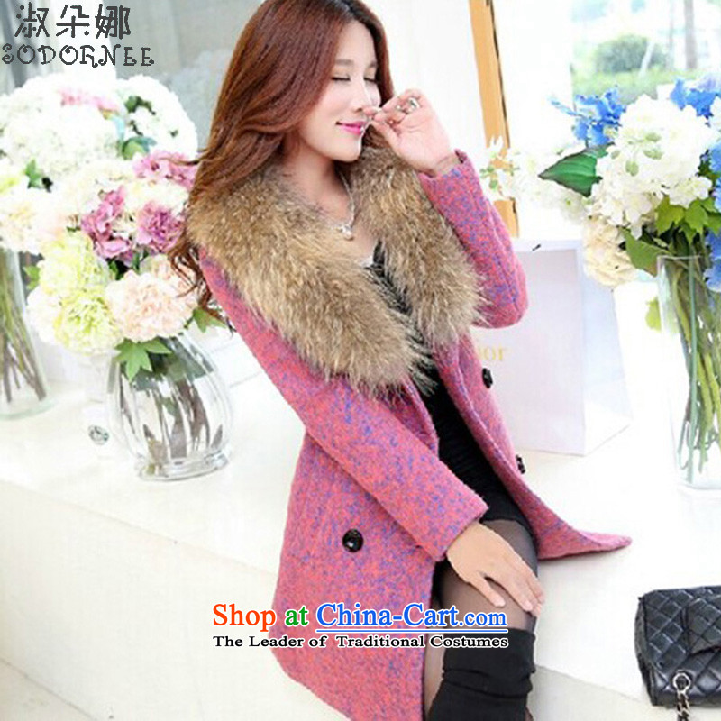 Mrs flower of gross? of autumn and winter coats women 2015 new Korean temperament, long thin video??8091 gross?in red _jacket new products_ M