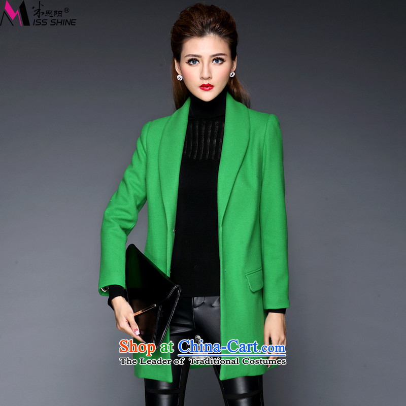 Meath Yang Hong recalls that the 2015 Autumn and Winter Female Western big minimalist in long woolen coat long-sleeved jacket green XXL gross?