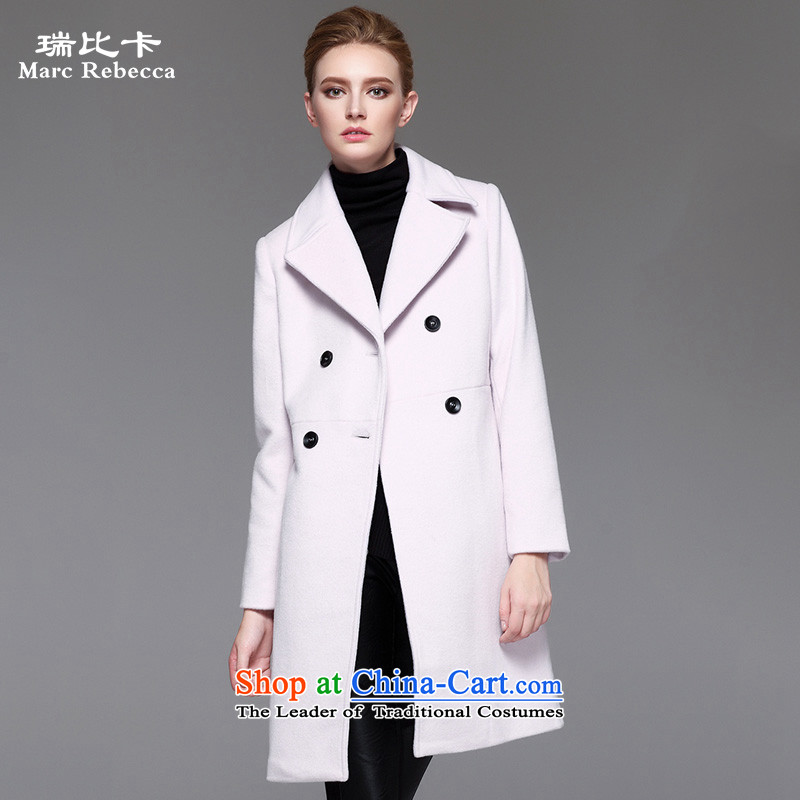 Labortex Card 2015 autumn and winter coats female pure colors? a wool coat in the wool long double-gross? gray and white jacket燲L