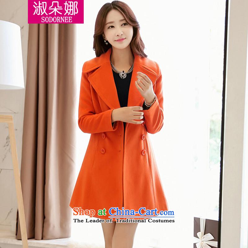 Mrs flower of 2014 winter clothing new Korean version of Sau San video thin hair? female Heung-wind jacket a wool coat 8098 ORANGEXL