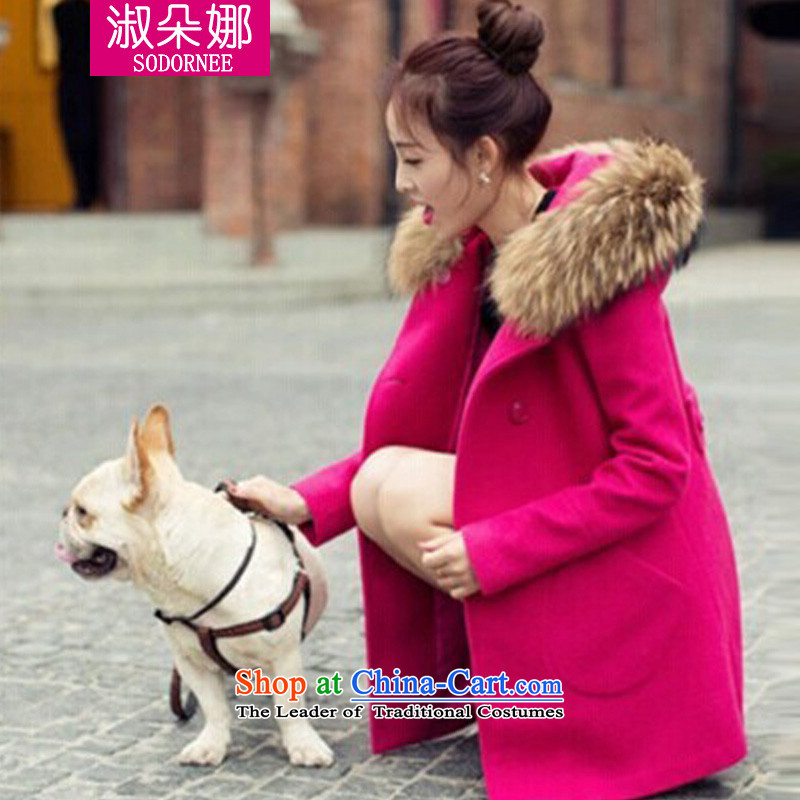 Mrs flower of 2014 winter clothing new goddess van gross jacket version won? long overcoat for women 9801 better red燲XL