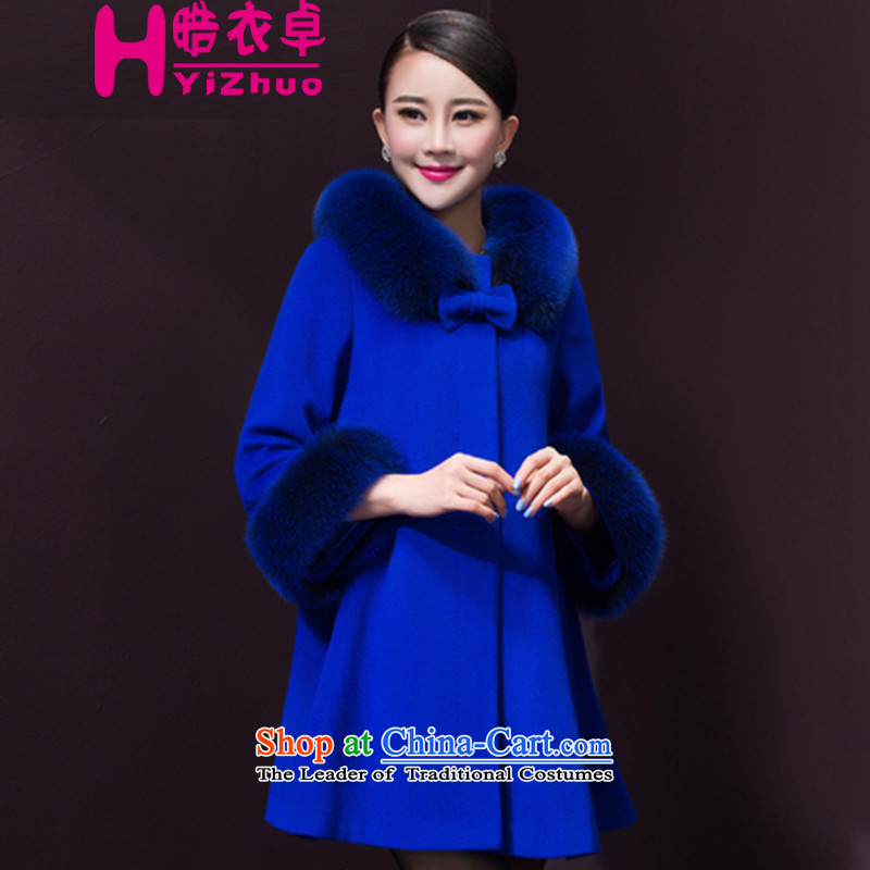 Yi Cheuk-yan 2015 cashmere 鏅� coats female聽2015 winter clothing new cloak gross butted? long coats blue cashmere聽XL