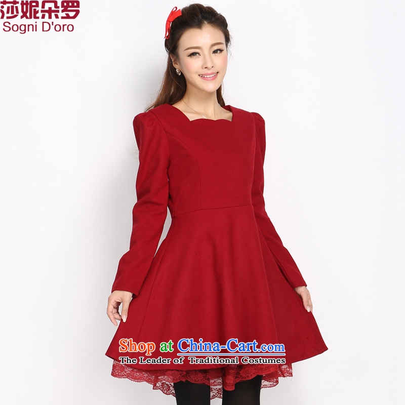 Luo Shani flower code women 200 catties to intensify the thick winter version won sister thin hair? dresses5034 Magenta5XL- video a thin skirt