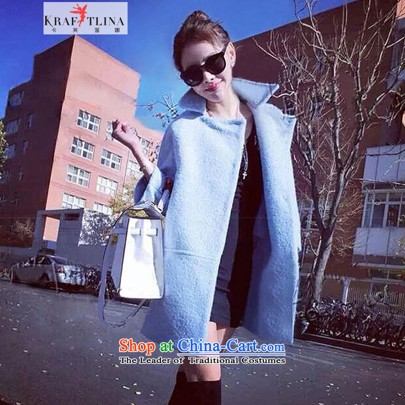 Counters Brenda Blethyn the quality card? coats female Europe gross site autumn and winter coats women in Sau San long female thick coarse wool? jacket is spent a wool coat, Blue M