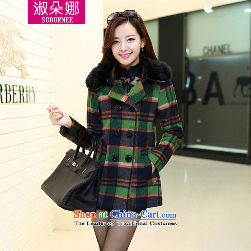 Mrs flower of 2014 winter clothing new Korean gross for a wool coat stylish latticed Sau San Mao jacket? female 909 Green Grid聽XXL